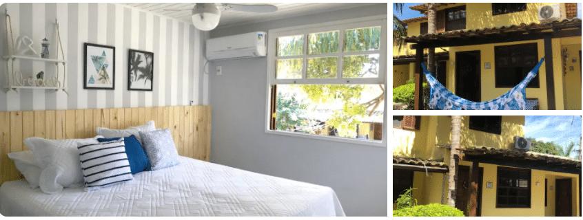 Quarto com cama de casal, fachada de casa com rede de Casas com piscina para alugar em Búzios